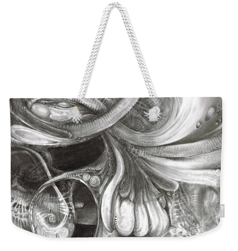 Weekender Tote Bag featuring the drawing Fomorii Pod by Otto Rapp