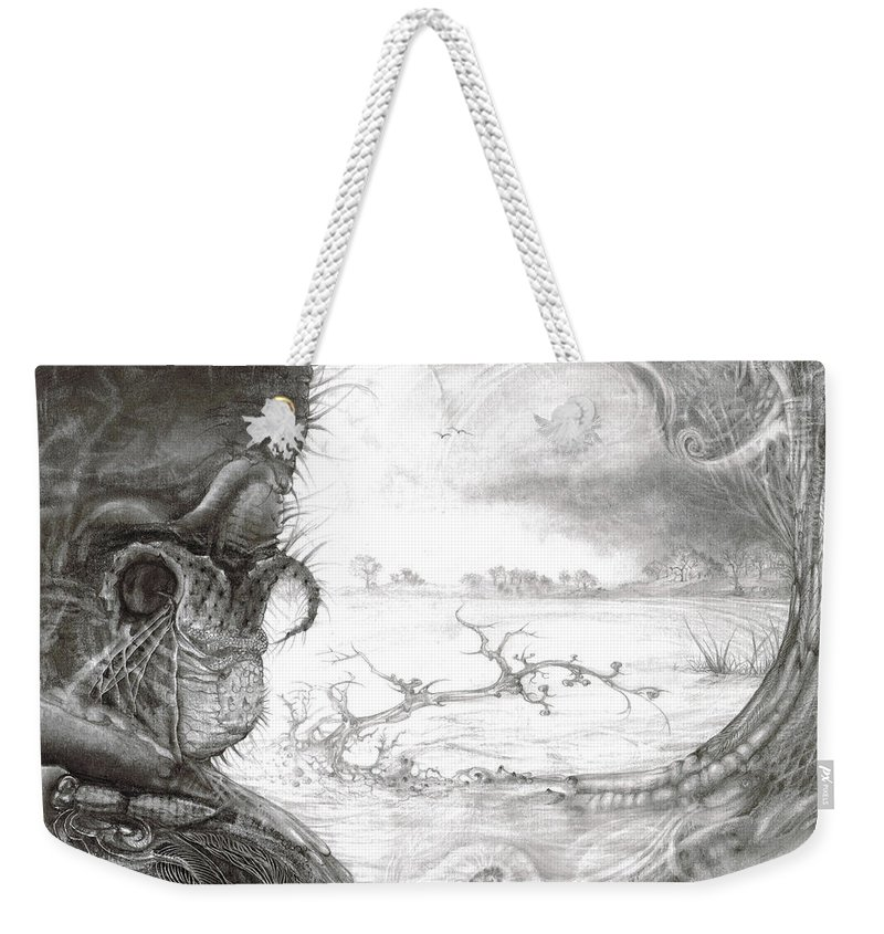 Fomorii Weekender Tote Bag featuring the drawing Fomorii Swamp by Otto Rapp