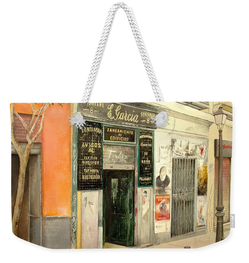 Streetscene Weekender Tote Bag featuring the painting Fontaneria E.garcia by Tomas Castano
