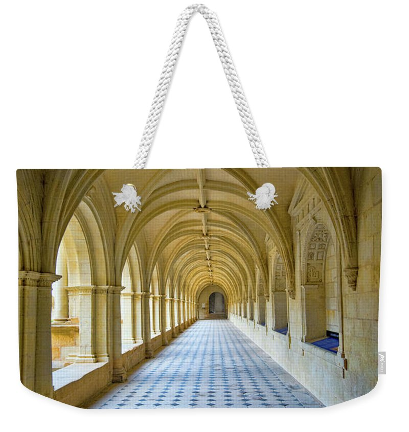 Fontevraud Abbey Cloister Weekender Tote Bag featuring the photograph Fontevraud Abbey Cloister, Loire, France by Curt Rush