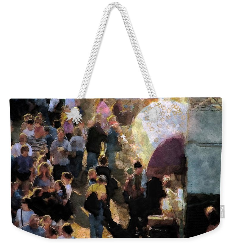 Americana Weekender Tote Bag featuring the painting Food Alley At The Country Fair by RC DeWinter
