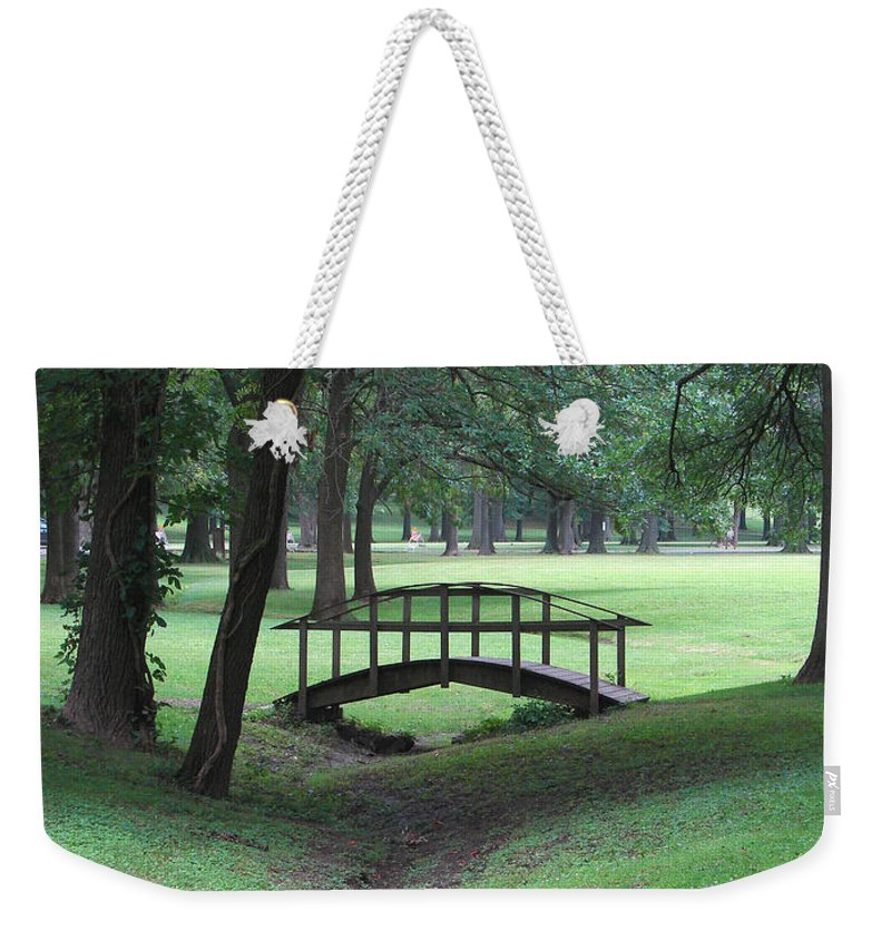Bridge Weekender Tote Bag featuring the photograph Foot Bridge In The Park by J R Seymour