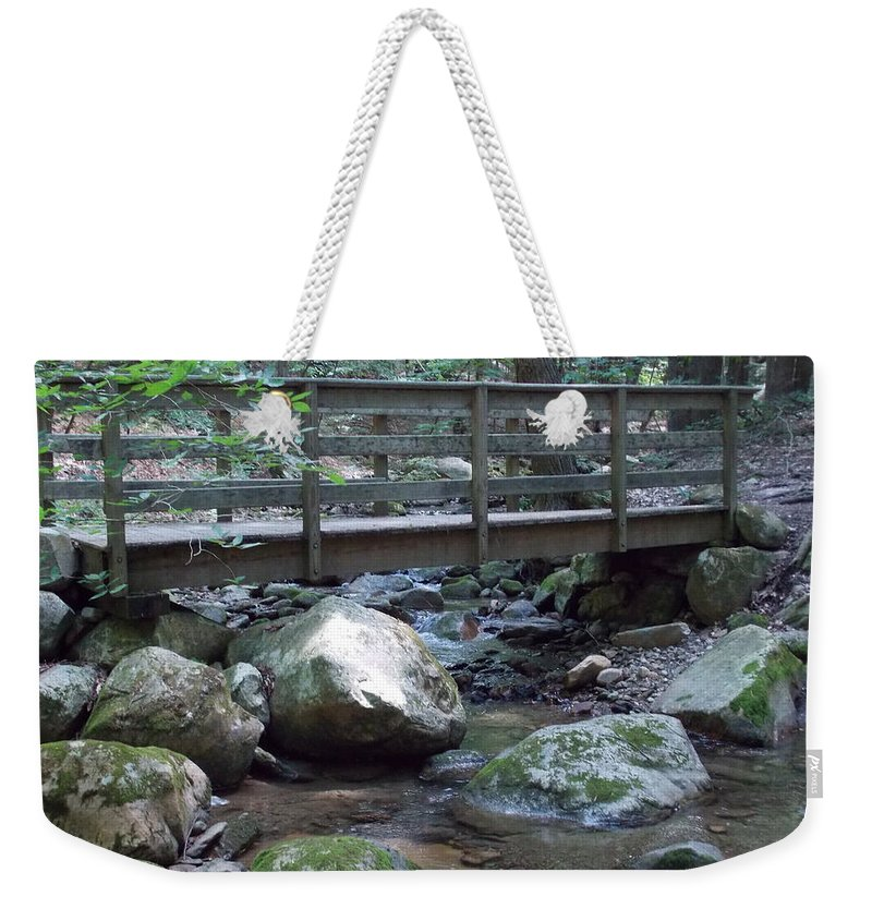 North Adams Weekender Tote Bag featuring the photograph Foot Bridge Over Notch Brook by Catherine Gagne