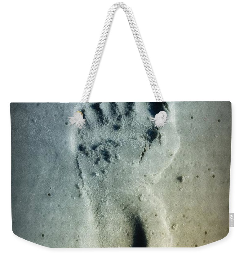 Foot Print Weekender Tote Bag featuring the photograph Foot Print In The Sand by Bill Cannon