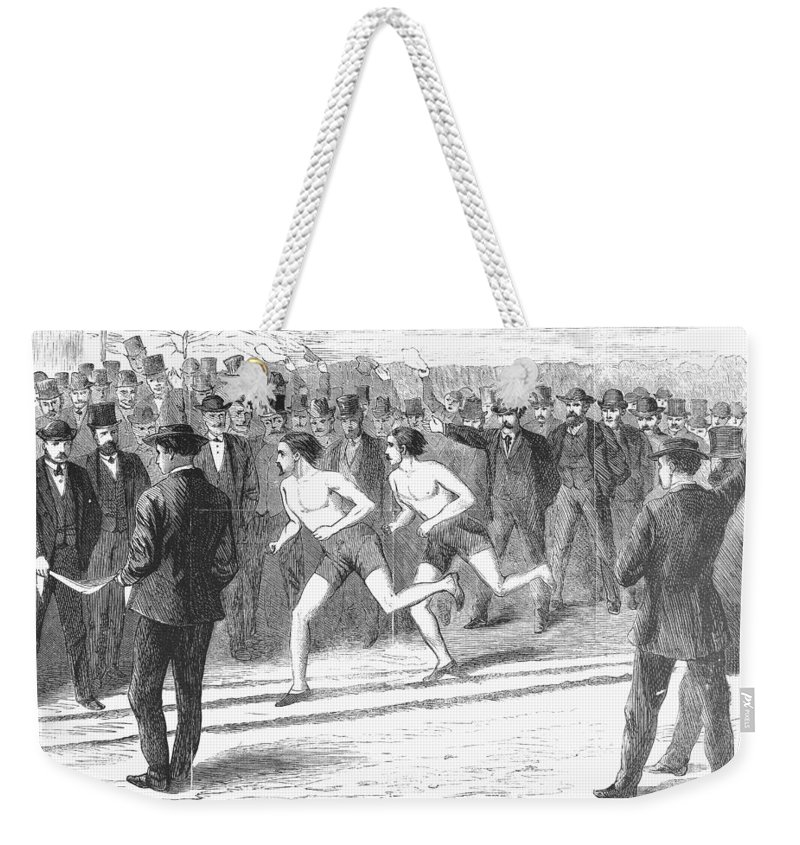 1868 Weekender Tote Bag featuring the photograph Foot Race, 1868 by Granger