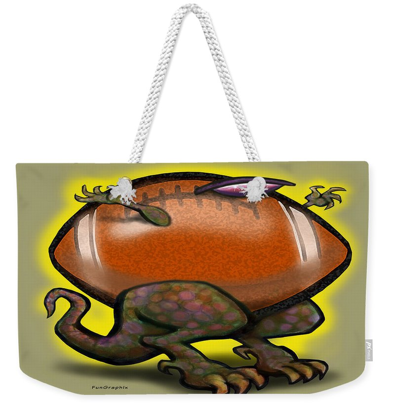 Football Weekender Tote Bag featuring the digital art Football Beast by Kevin Middleton