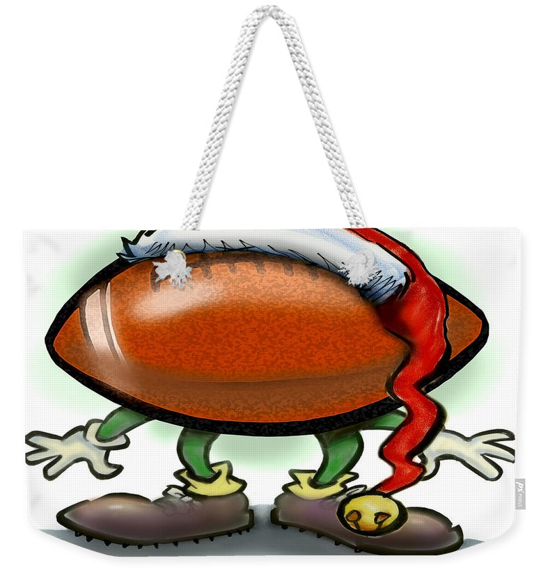 Football Weekender Tote Bag featuring the greeting card Football Christmas by Kevin Middleton