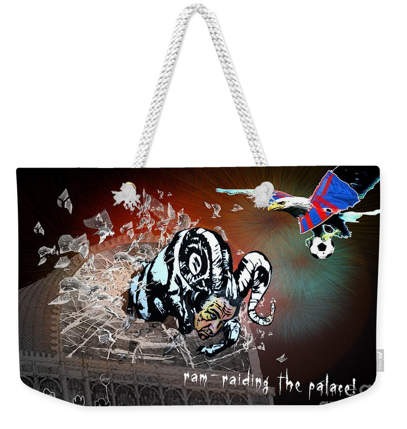 Football Calendar 2009 Derby County Football Club Crystal Palace Artwork Miki Weekender Tote Bag featuring the painting Football Derby Rams Against Crystal Palace Eagles by Miki De Goodaboom