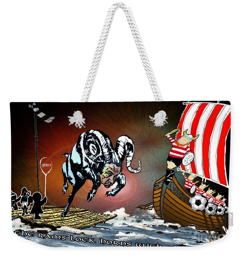 Football Calendar 2009 Derby County Football Club Doncaster Artwork Miki Weekender Tote Bag featuring the painting Football Derby Rams Against Doncaster Vikings by Miki De Goodaboom