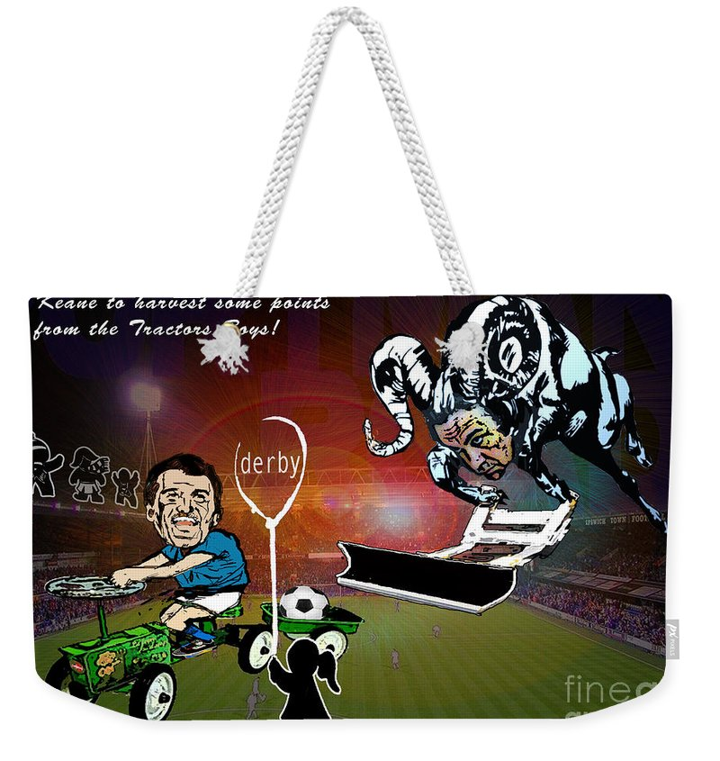 Weekender Tote Bag featuring the painting Football Derby Rams Against Ipswich Tractor Boys by Miki De Goodaboom