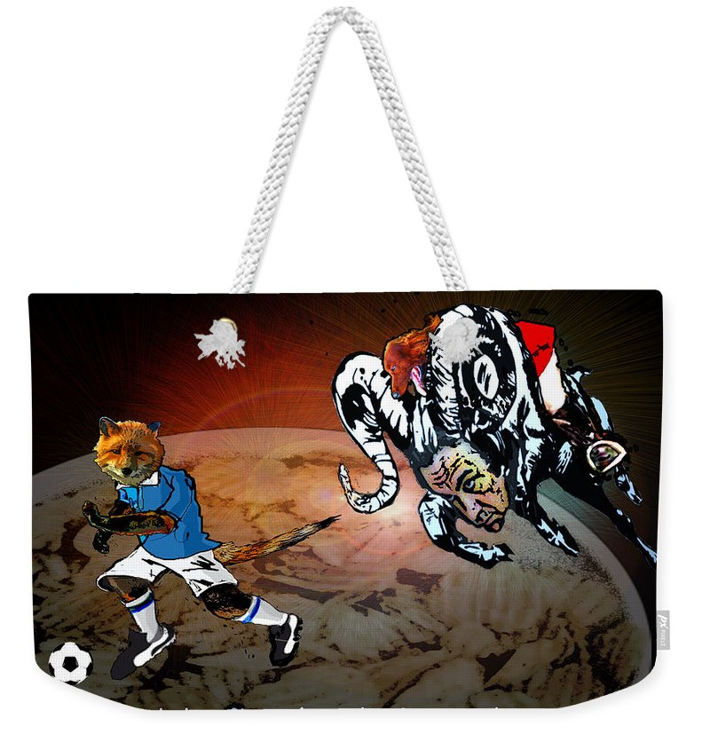 Football Calendar 2009 Derby County Football Club Leicester Artwork Miki Weekender Tote Bag featuring the painting Football Derby Rams Against Leicester Foxes by Miki De Goodaboom