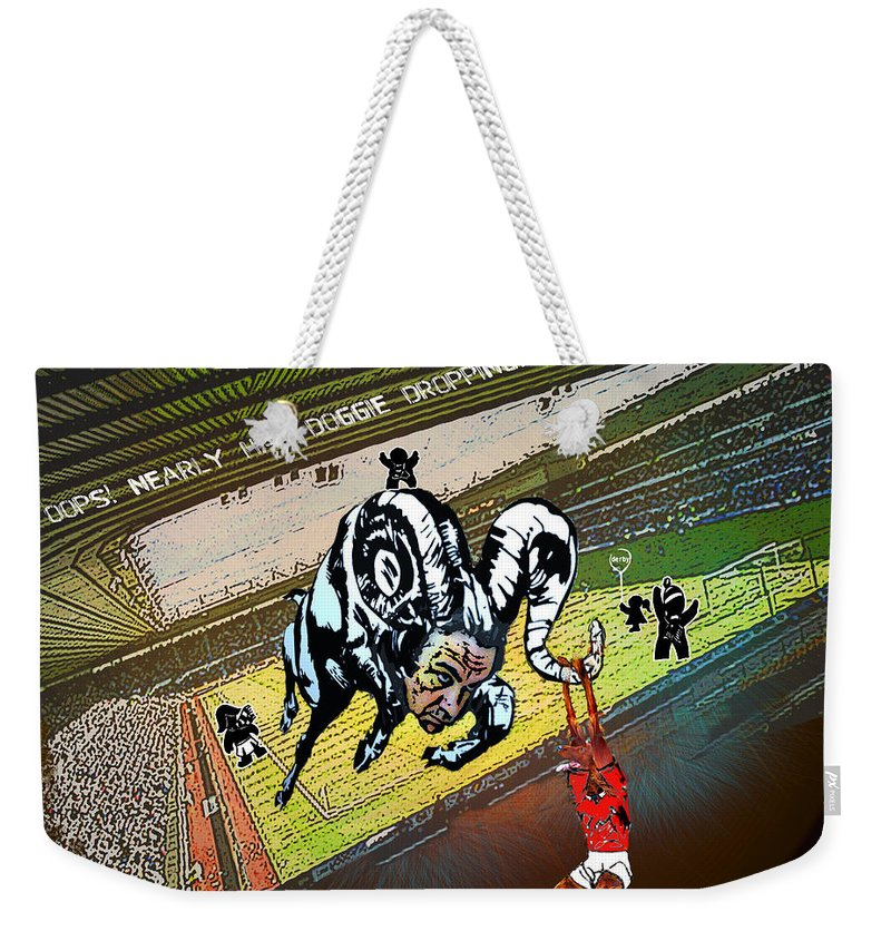 Football Calendar 2009 Derby County Football Club Nottingham Forest Artwork Miki Weekender Tote Bag featuring the painting Football Derby Rams Against Nottingham Forest Red Dogs by Miki De Goodaboom