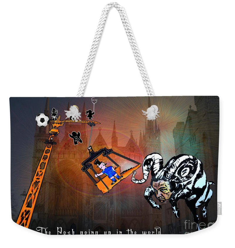 Football Calendar 2009 Derby County Football Club Peterborrough Artwork Miki Weekender Tote Bag featuring the painting Football Derby Rams Against Peterborough Posh by Miki De Goodaboom