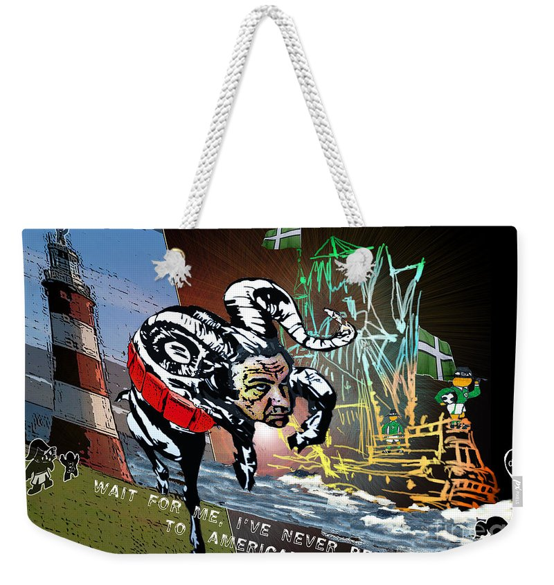 Football Calendar 2009 Derby County Football Club Plymouth Artwork Miki Weekender Tote Bag featuring the painting Football Derby Rams Against Plymouth Pilgrims by Miki De Goodaboom