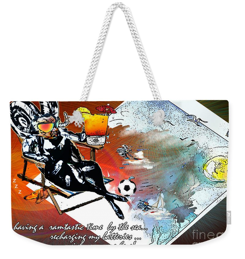 Football Calendar 2009 Derby County Football Club Artwork Miki Weekender Tote Bag featuring the painting Football Derby Rams On Holidays By The Sea by Miki De Goodaboom