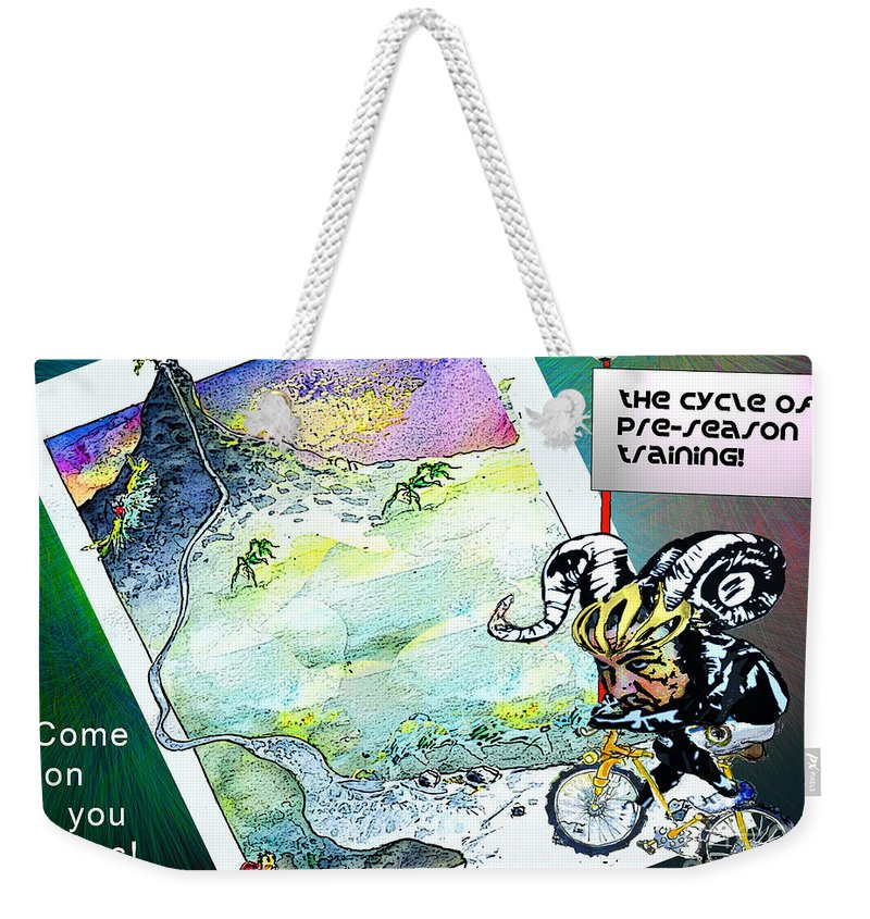 Football Calendar 2009 Derby County Football Club Miartwork Miki Weekender Tote Bag featuring the painting Football Derby Rams On Holidays In The Mountains by Miki De Goodaboom