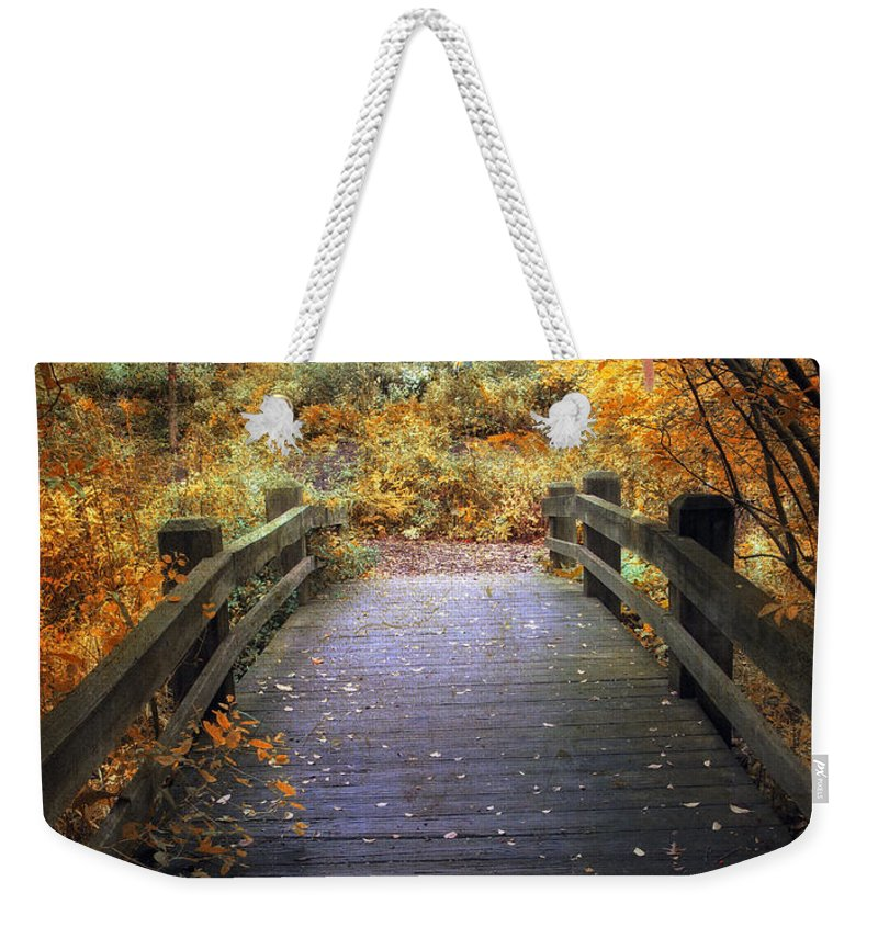 Seasonal Weekender Tote Bag featuring the photograph Footbridge Canopy by Jessica Jenney