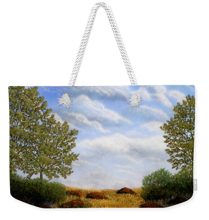 Landscape Weekender Tote Bag featuring the painting Foothills Afternoon by Frank Wilson
