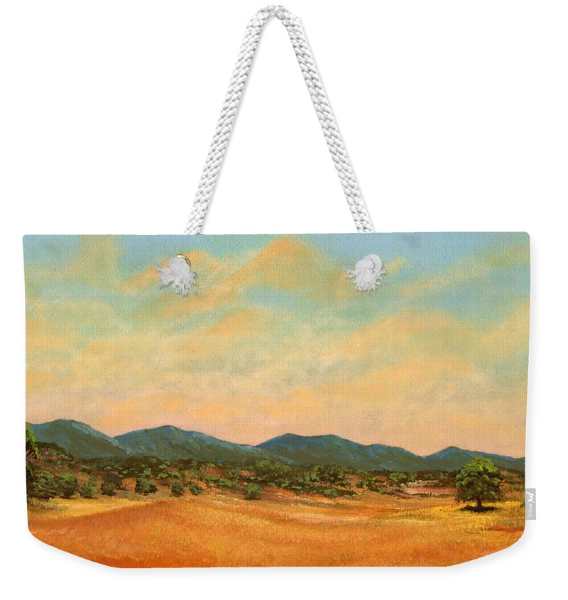 Landscape Weekender Tote Bag featuring the painting Foothills by Frank Wilson
