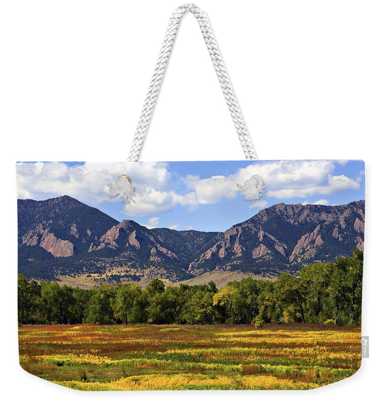 Fall Weekender Tote Bag featuring the photograph Foothills Of Colorado by Marilyn Hunt