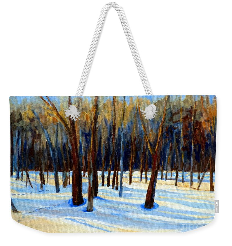 Beautiful Winter Weekender Tote Bag featuring the painting Footprints by Carole Spandau