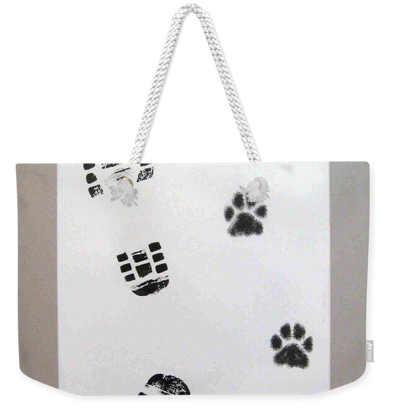 Footprints Weekender Tote Bag featuring the drawing Footprints- Friends by Dragica Micki Fortuna