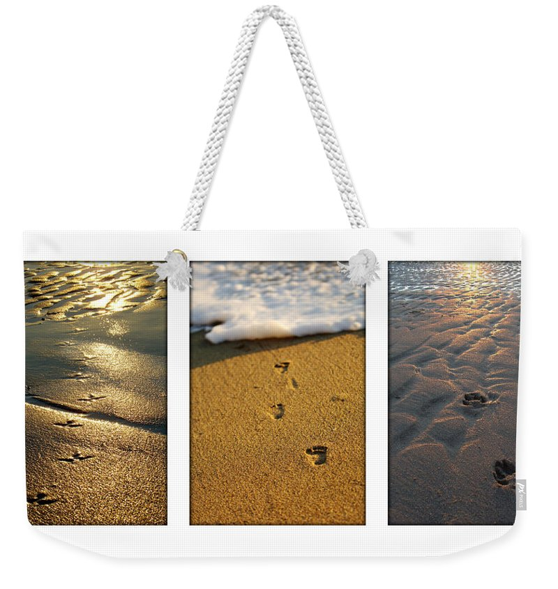 Beach Weekender Tote Bag featuring the photograph Footprints In The Sand by Jill Reger