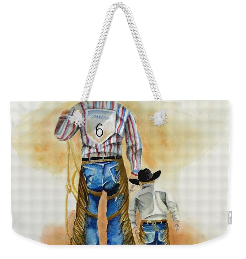 Bull Weekender Tote Bag featuring the painting Footsteps by Jimmy Smith