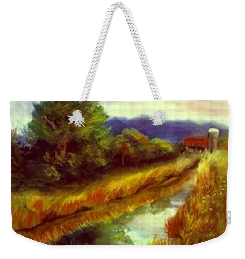 Landscape Weekender Tote Bag featuring the painting For A Thirsty Land by Gail Kirtz