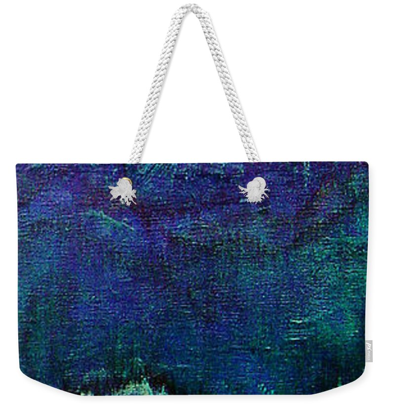 Blue Weekender Tote Bag featuring the painting For Linda by Shadia Derbyshire