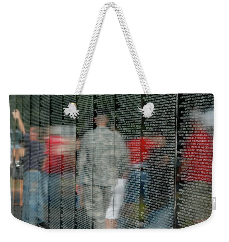 Traveling Vietnam Wall Weekender Tote Bag featuring the photograph For My Country by Carolyn Marshall