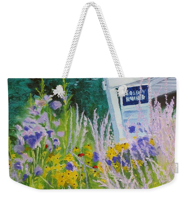 Landscape Weekender Tote Bag featuring the painting For Sale - A Patch Of Paradise by Lea Novak