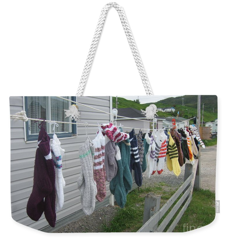 Knitted Socks Newfoundland Weekender Tote Bag featuring the photograph For Sale by Seon-Jeong Kim