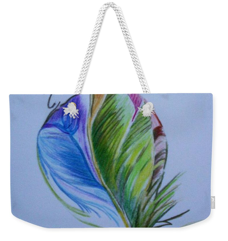 Abstract Weekender Tote Bag featuring the drawing For Starters by Suzanne Udell Levinger