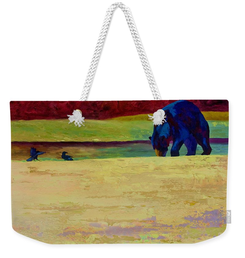 Bear Weekender Tote Bag featuring the painting Foraging At Neets Bay - Black Bear by Marion Rose