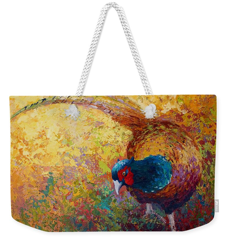 Pheasant Weekender Tote Bag featuring the painting Foraging Pheasant by Marion Rose