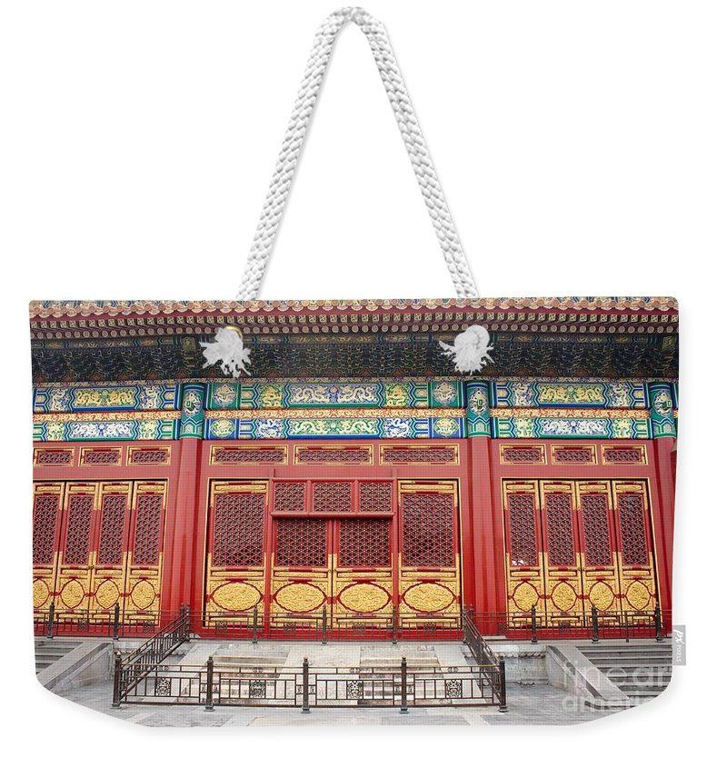 Detail Weekender Tote Bag featuring the photograph Forbidden City Building Detail by Thomas Marchessault