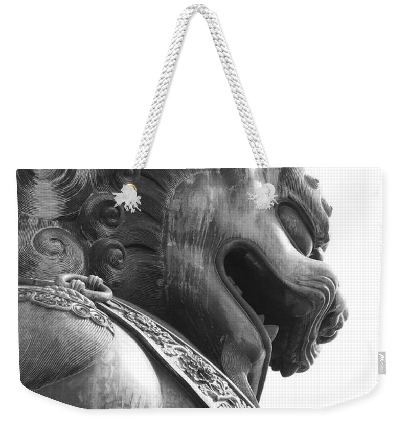 China Weekender Tote Bag featuring the photograph Forbidden City Lion - Black And White by Carol Groenen
