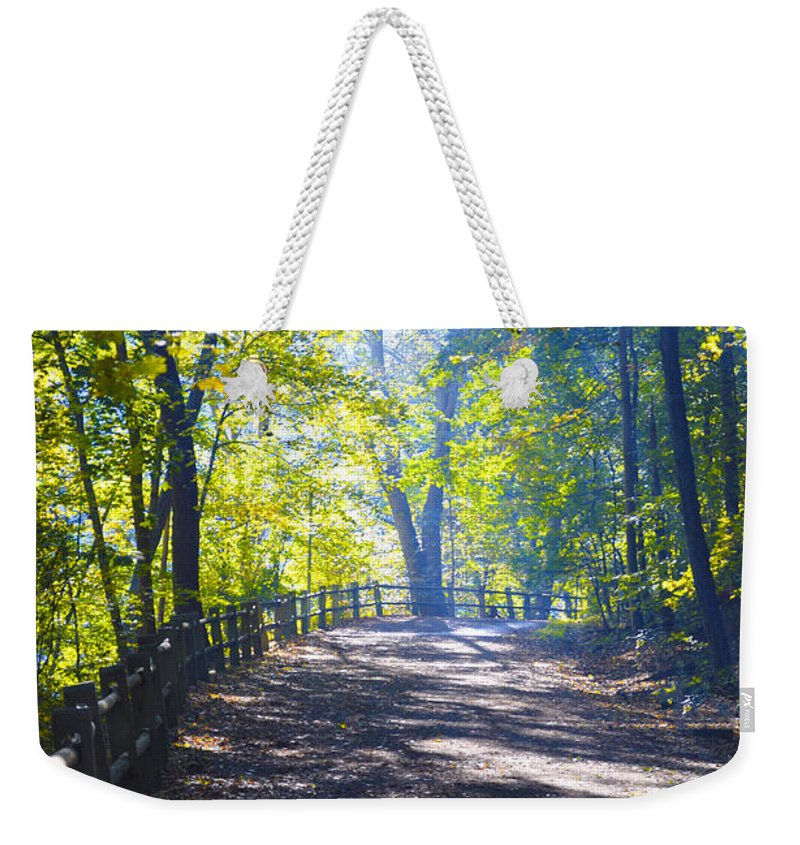 Wissahickon Weekender Tote Bag featuring the photograph Forbidden Drive - Philadelphia by Bill Cannon