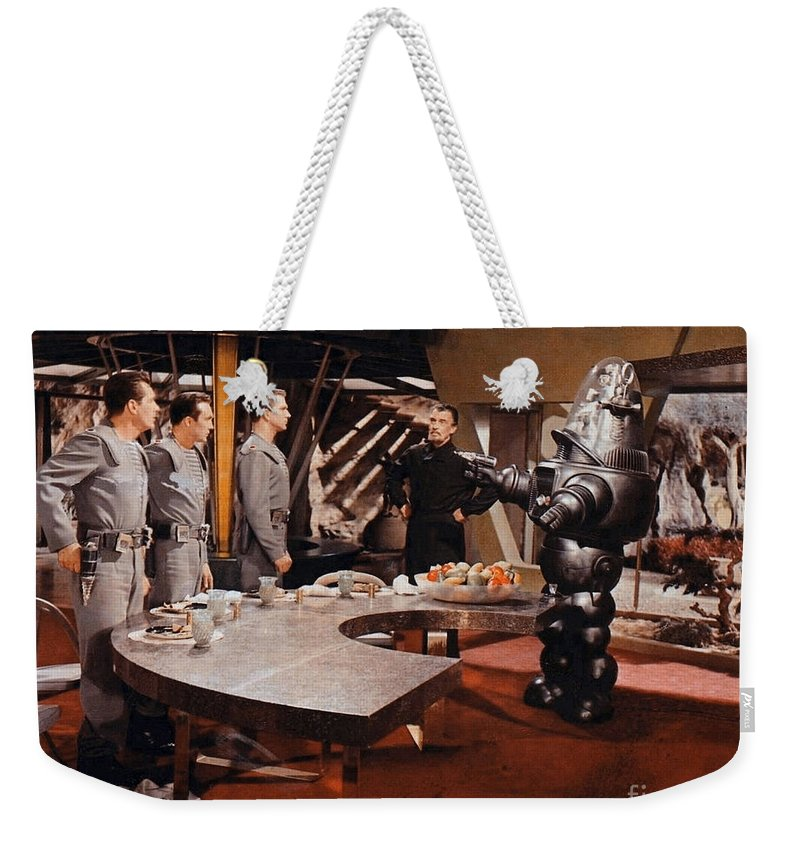 Forbidden Planet Weekender Tote Bag featuring the photograph Forbidden Planet Amazing Poster Inside With Scientist by R Muirhead Art