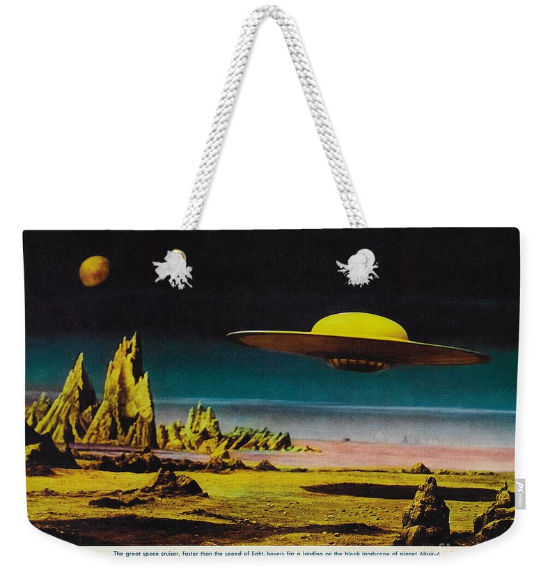 Forbidden Planet Weekender Tote Bag featuring the painting Forbidden Planet In Cinemascope Retro Classic Movie Poster Detailing Flying Saucer by R Muirhead Art