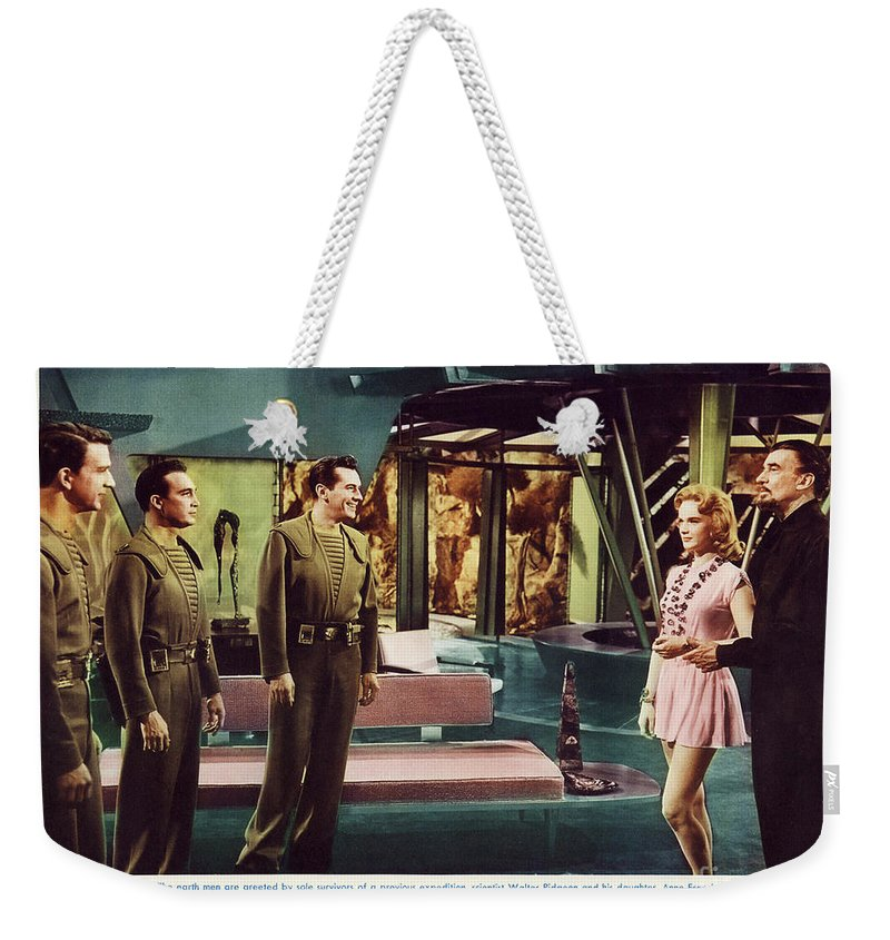 Forbidden Planet Weekender Tote Bag featuring the photograph Forbidden Planet In Cinemascope Retro Classic Movie Poster Indoors by R Muirhead Art