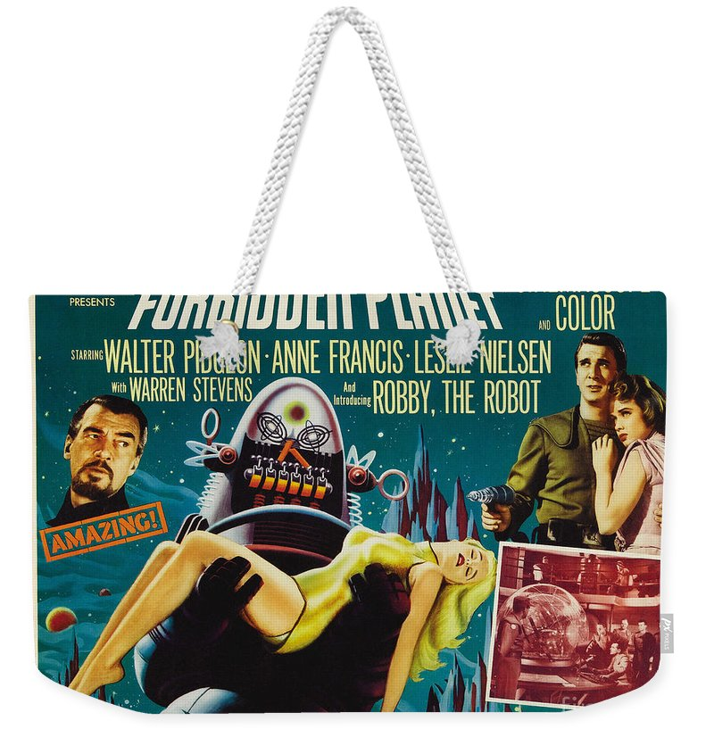 Forbidden Planet Weekender Tote Bag featuring the painting Forbidden Planet In Cinemascope Retro Classic Movie Poster by R Muirhead Art