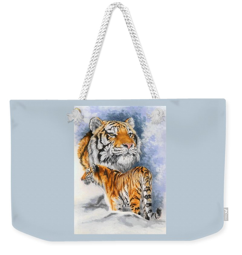 Big Cats Weekender Tote Bag featuring the mixed media Forceful by Barbara Keith