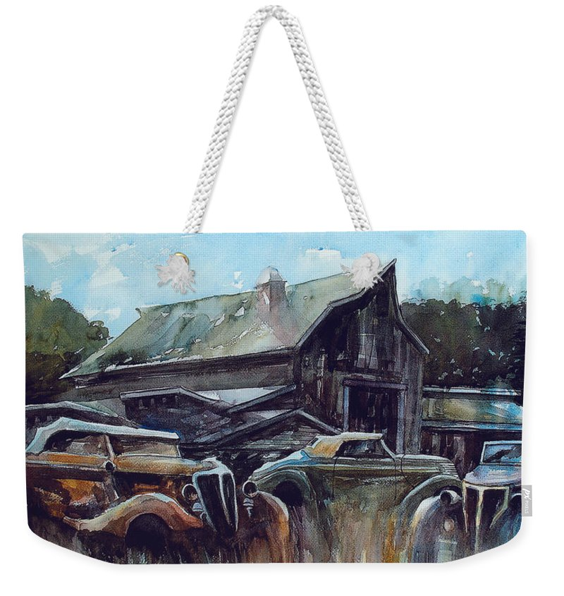 Barn Weekender Tote Bag featuring the painting Ford Cabriolets Guard the Barn by Ron Morrison