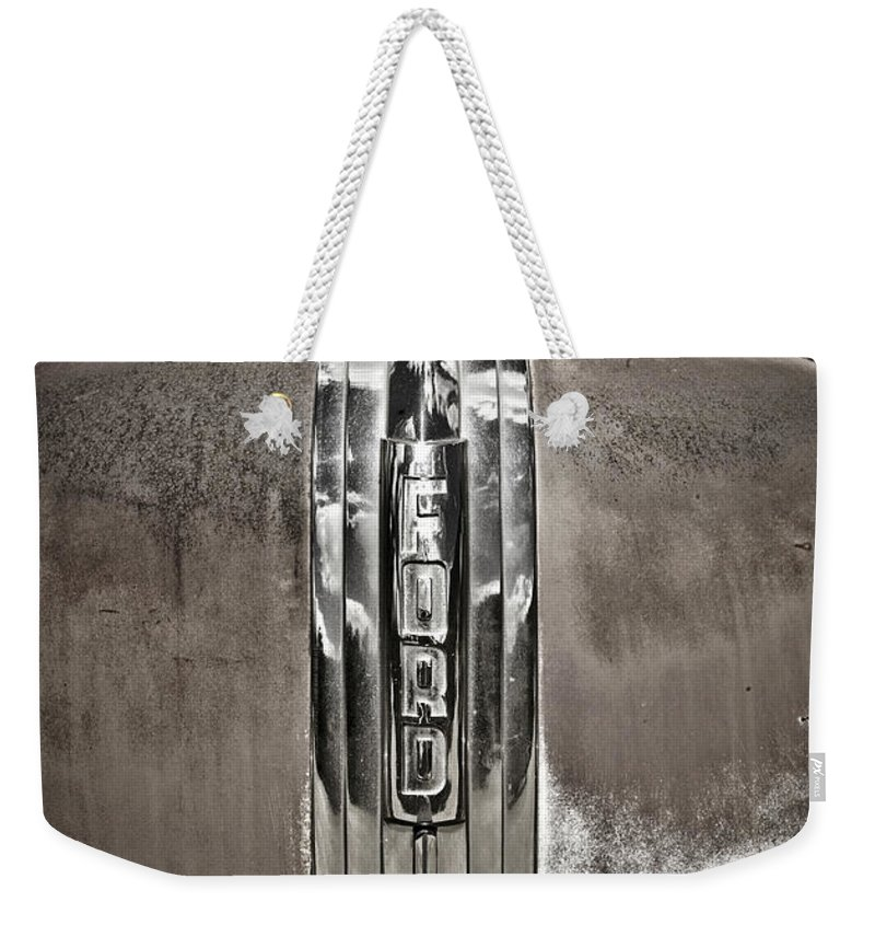 Americana Weekender Tote Bag featuring the photograph Ford Chrome Grille by Marilyn Hunt