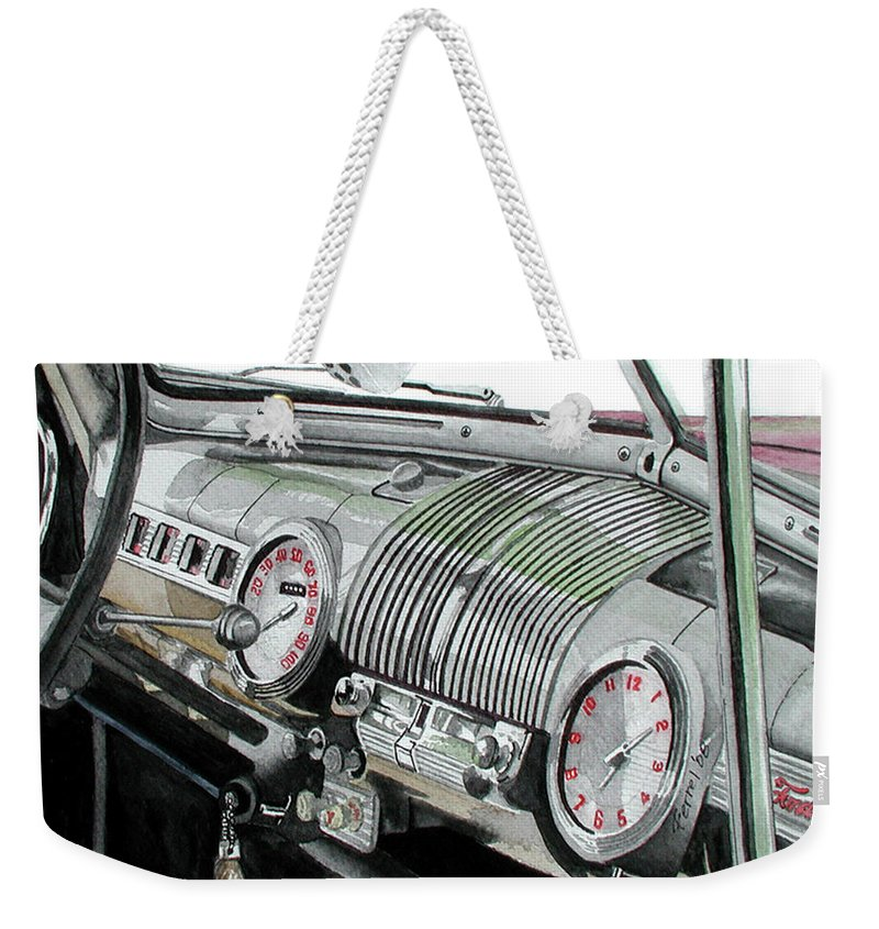 Car Weekender Tote Bag featuring the painting Ford Dash by Ferrel Cordle