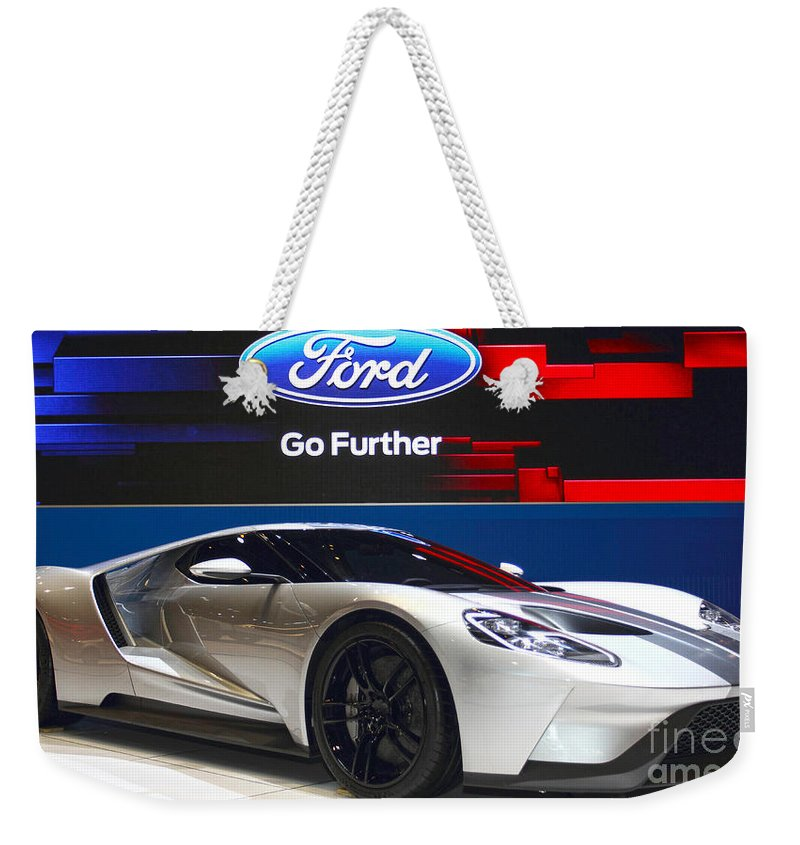 Auto Weekender Tote Bag featuring the photograph Ford Gt by Alan Look
