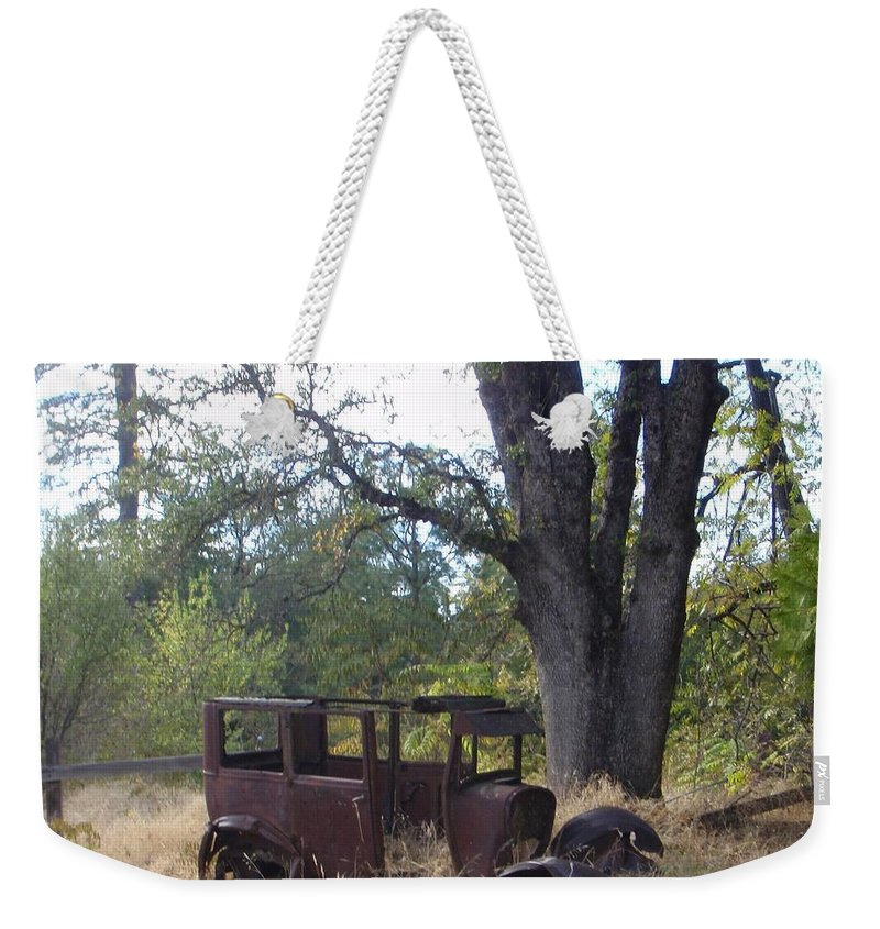 Ford Weekender Tote Bag featuring the photograph Ford Model A by Mary Deal