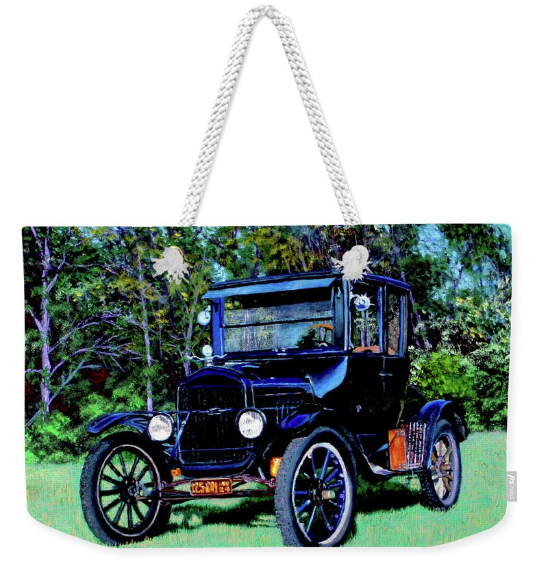 Ford Weekender Tote Bag featuring the painting Ford Model T by Stan Hamilton